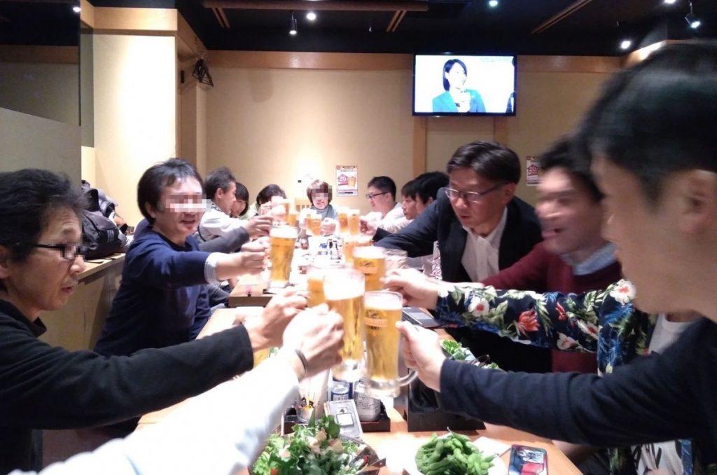 東京で開催したFXセミナー&勉強会の交流会のようす